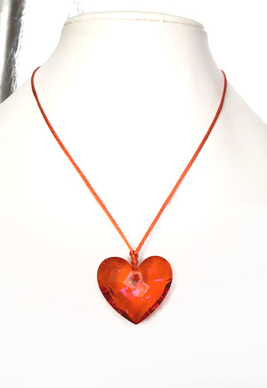 Collier coeur orange Pamplemousse